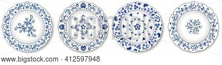 Decorative Porcelain Plates With Blue On White Pattern. Chinese Style Design, Abstract Floral Orname