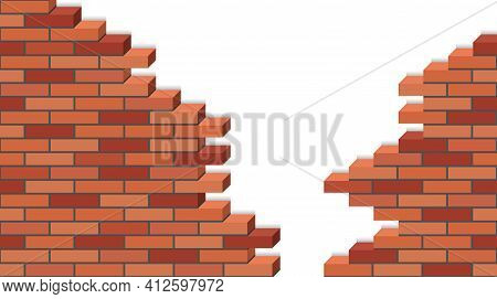 Broken Brick Wakk, 3d Isometric View. Destroyed Red Brick Stone Wall Of Building, Isolated On White