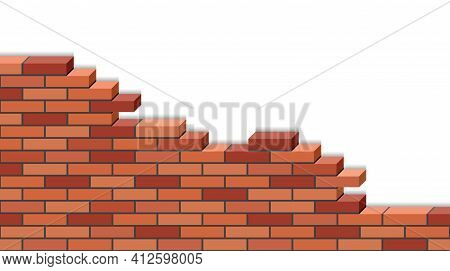 3d Brick Wall Broken Isolated On White Background. Red Isometric Bricks, Stonewall  Of Destroyed Bui