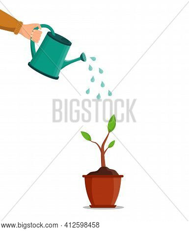 Water Can In Hand. Water For Pour Of Tree And Plant. Growth Are Seed In Garden In Spring. Pot With P