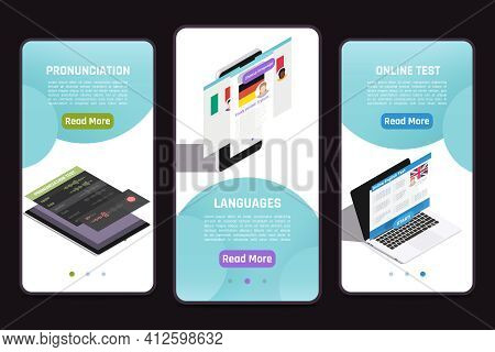 Learning Foreign Language 3 Isometric Mobile Screens Set With Online Test Personal Tutor Pronunciati