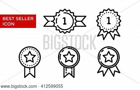 Best Seller Icon Set. Suitable For Design Element Of Best Selling Item Label, Quality Mark Stamp, An