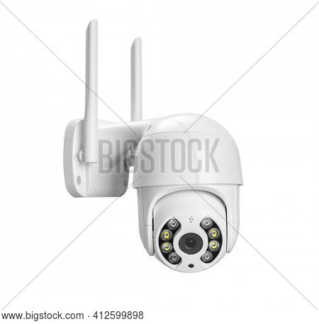 Security IP Camera isolated on white background, including clipping path