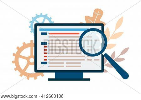 Computer With Code And Magnifier Checking Program, Vector Illustration Isolated.
