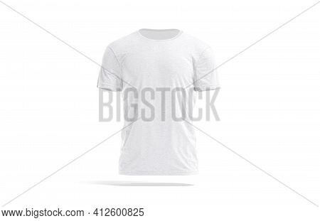 Blank White Wrinkled T-shirt Mockup, Front View, 3d Rendering. Empty Dangling Basic Tee-shirt For Ma