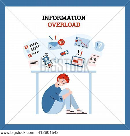 Man Is Overwhelmed With Work Or Information And In Stress Hide From Data Stream.
