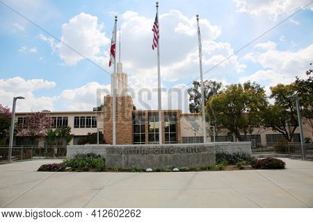 March 12, 2021 - Whittier, California: Whittier Civic Center and City Hall. Editorial Use Only.