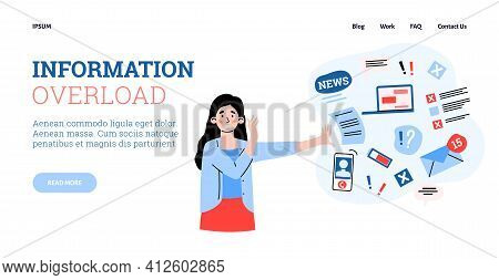 Information Overload Banner With Stressed Woman, Cartoon Vector Illustration.
