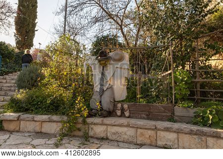 Jerusalem, Israel, February 27, 2021 : Evening View Of A Sculpture In The Style Of Abstraction From