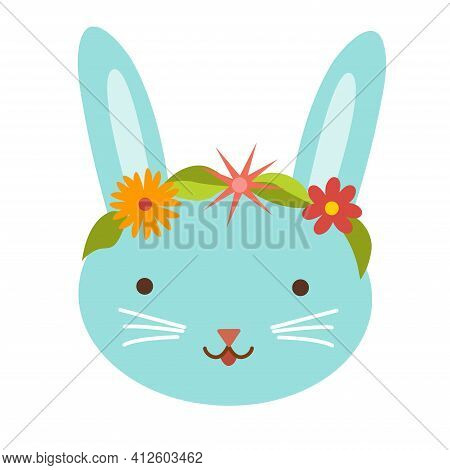 Cute Easter Bunny With Flowers And Leaves. Rabbit Face. Design Element For Easter Holiday. Decoratio