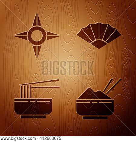 Set Rice In A Bowl With Chopstick, Japanese Ninja Shuriken, Asian Noodles In Bowl And Chopsticks And