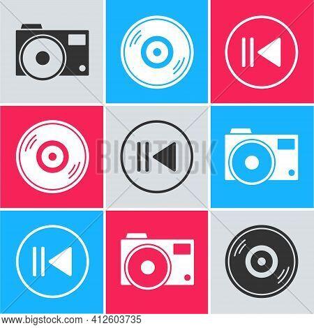 Set Photo Camera, Vinyl Disk And Rewind Icon. Vector