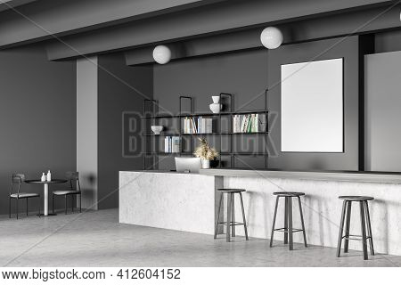 Canteen Interior In School, College Or Office. Cafeteria, Dining Room In University, Cafe With Table