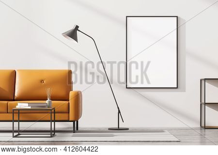 Modern Living Room Interior With One Empty Poster On White Wall, Mock Up. Furnished By Yellow Sofa,