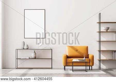 Front View Of Modern Living Room Interior With One Empty Poster On White Wall, Mock Up. Furnished By