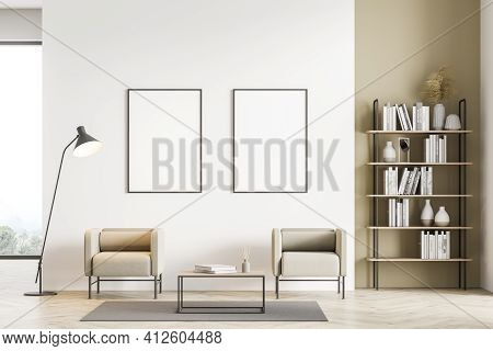Light Modern Living Room Interior With Panoramic Window Furnished By Beige Armchairs, Coffee Table,