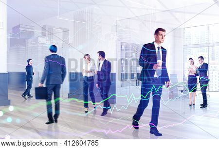 Business People Working And Rushing In Office With Cup Of Coffee. Concept Of Lunch Time And Coffee B