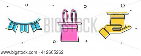 Set Carnival Garland With Flags, Magician Hat And Rabbit Ears And Magician Hat In Hand Icon. Vector