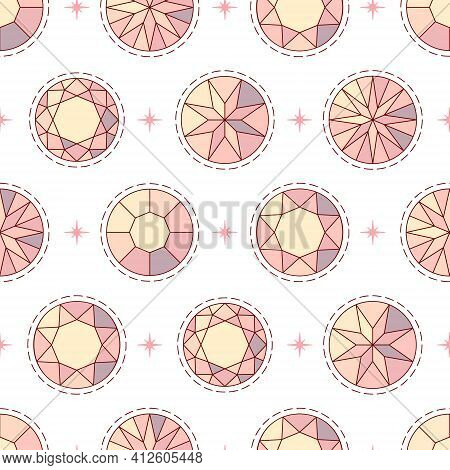 Seamless Female Pattern With Pink Diamonds On A White Background For Ladies And Little Princesses. V