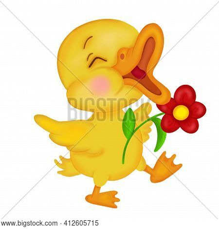 A Small Yellow Duckling With Closed Eyes And A Red Flower In Its Wings Opened Its Beak