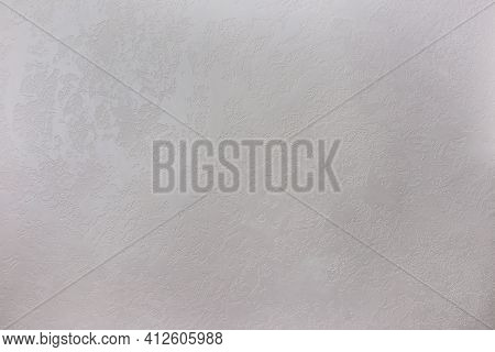Texture Of A Grey Stone Decorative Plaster Or Concrete Wall.