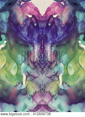 Vivid Colors Abstract Symmetric Vertical Background For Fantasy Design. Hand Drawn Watercolor Pictur