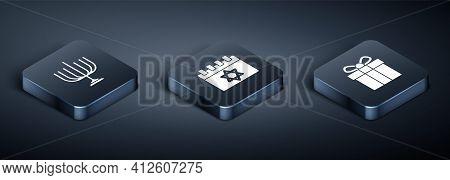 Set Isometric Hanukkah Menorah, Gift Box And Jewish Calendar Icon. Vector