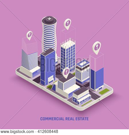 Commercial Real Estate Property Buildings Complex On Mobile Screen With Location Marker Symbol Isome