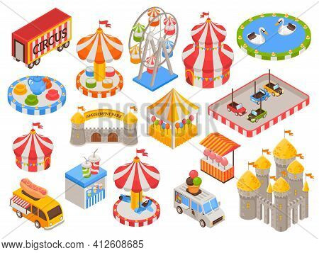 Isometric Set Of Colorful Icons With Circus Tent Castle Carousel Food Truck Cars Ferris Wheel In Amu