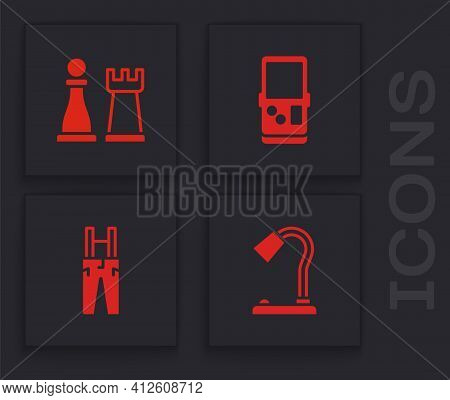 Set Table Lamp, Chess, Tetris And Pants With Suspenders Icon. Vector