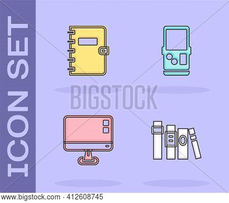 Set Book, Spiral Notebook, Computer Monitor Screen And Tetris Icon. Vector