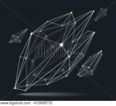 Abstract 3d Mesh Shape Vector Illustration, Dots Connected With Lines Technology Polygonal Object, D