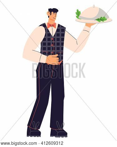 Restaurant Waiter Man Cartoon Character Holding A Tray With Food Under Lid. Cafe Or Restaurant Staff
