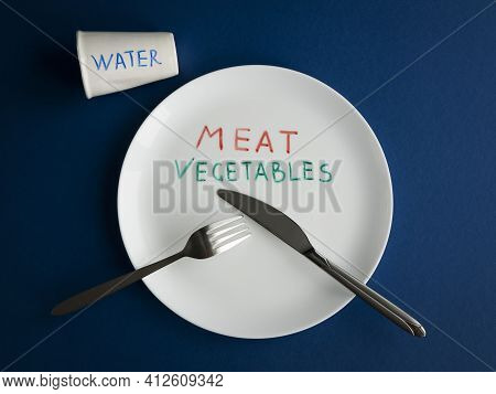 Names Of The Food On The Plate Instead Real Meal. Concept Of Food Ration, Daily Diet Or Food Shortag