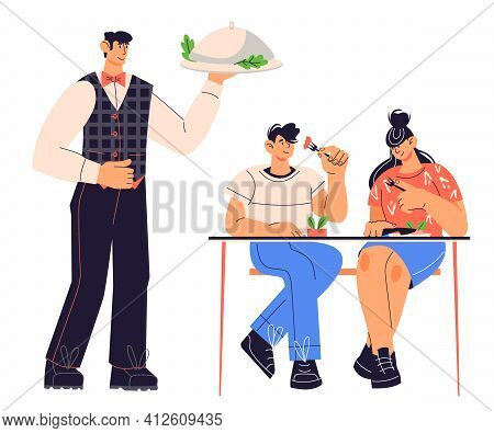 Restaurant Waiter Serving Food To Customers, Flat Vector Illustration Isolated On White Background.