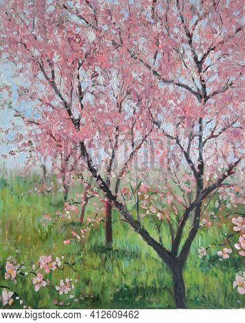 Magical Pink Flower Trees Garden. Oil Painting Of Blooming Spring Cherry Tree. Hand Painted Floral G