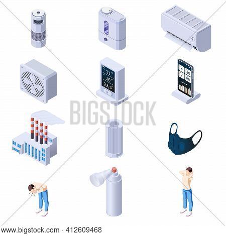 Air Purification Quality Control Isometric Set Of Isolated Icons With Human Characters And Cleaner A