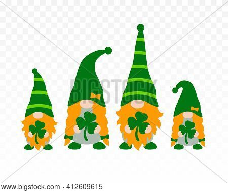 St Patrick's Day Gnomes Family Isolated On Transparent Background. Irish Gnomes Holding Shamrocks Or