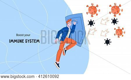 Boost Immune System Concept Of Web Banner With Man Reflecting Viruses. Immunity And Health Care, Pre