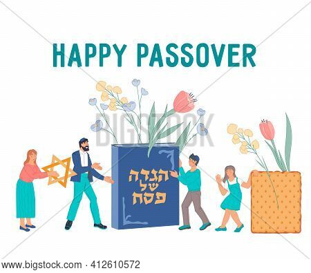Happy Passover Jewish Holiday Banner Or Greeting Card Backdrop. Jewish Family With Children Celebrat