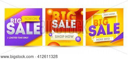 Big Sale Banner Set. Sale And Discounts. Vector Illustration