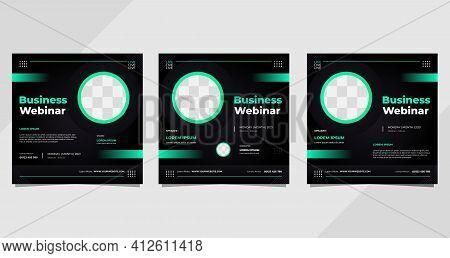 Set Of  Social Media Post Template For Business Webinar, Digital Marketing, Conference Event Etc. Wi