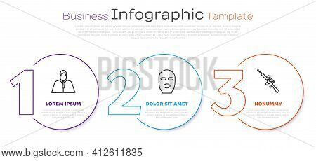 Set Line Lawyer, Attorney, Jurist, Thief Mask And Sniper Rifle With Scope. Business Infographic Temp