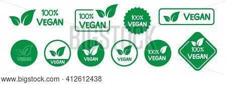 Vegan Icon Set. Organic Food Labels. Fresh Eco Vegetarian Products. Vegan Logo. Vector Illustration