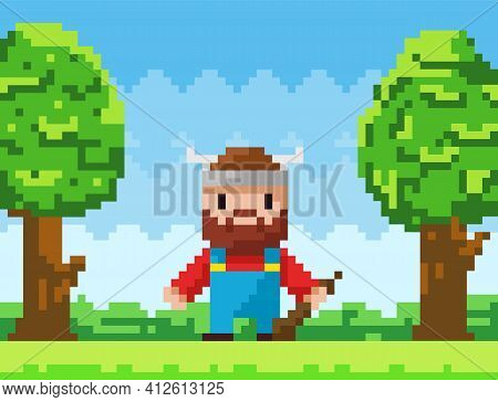 Vector Pixel-game Character Brave Viking. Pixelated Bearded Man With Club In Nature Landscape
