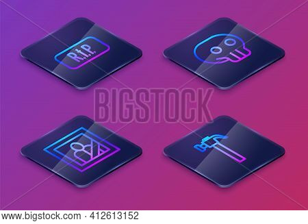 Set Isometric Line Speech Bubble Rip Death, Mourning Photo Frame, Skull And Hammer. Blue Square Butt