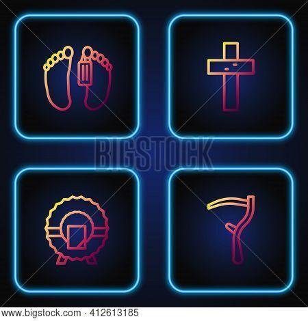 Set Line Scythe, Memorial Wreath, Dead Body And Christian Cross. Gradient Color Icons. Vector