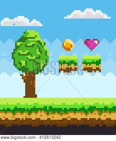 Pixel Art Game Scene With Green Grass Platform And Tall Tree Against Blue Sky And Pixelated Awards