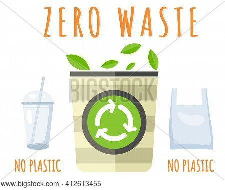 Trash Can With Recycle Sign. Rubbish Container Zero Waste. Refuse Sorting. Garbage-free Environment