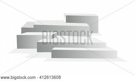 Podium Realistic. Showroom Pedestal, Floor Stage Platform Vector Isolated Mockup. 3d Realistic Squar